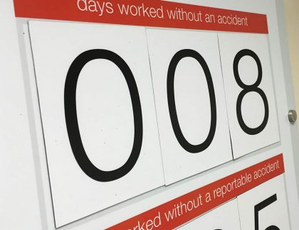 Accident record magnetic board with magnetic number sets.