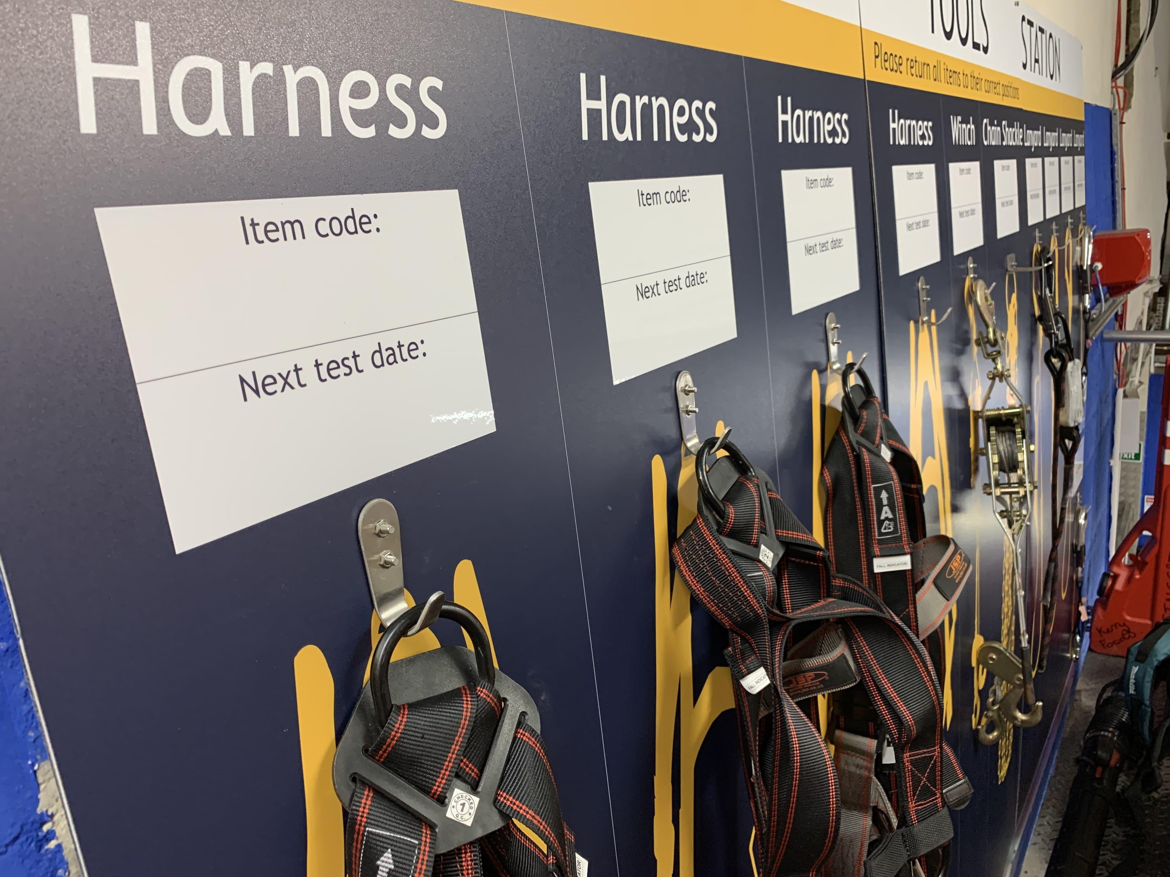 Tool Shadow Board showing Harness Hooks