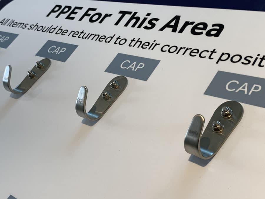 PPE Cap Hooks board