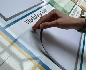 magnetic document holders for modular visual management board