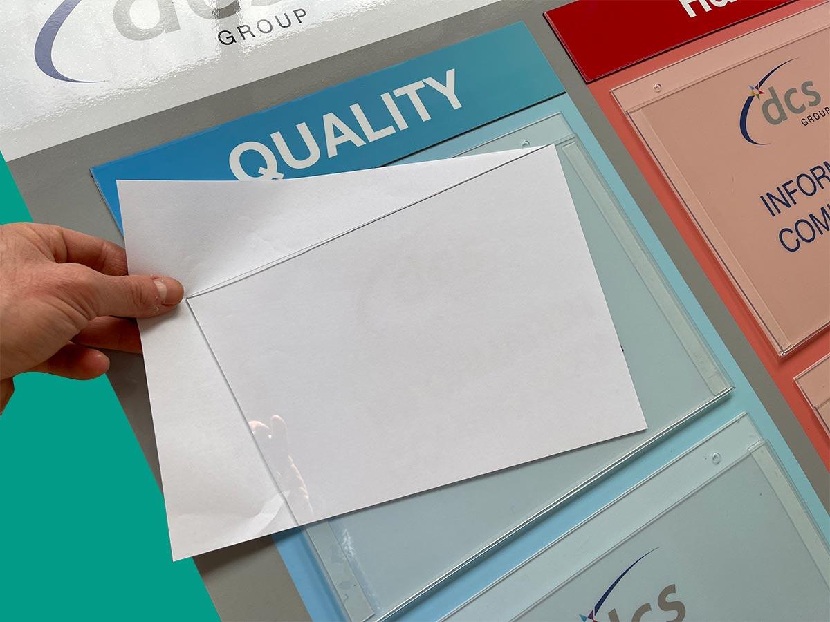 single sheet document holder for visual management board