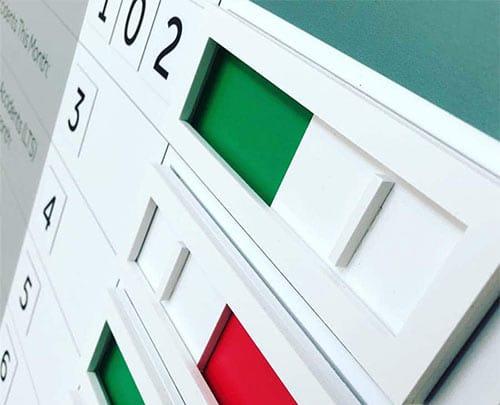 Red green status sliders modular visual management board