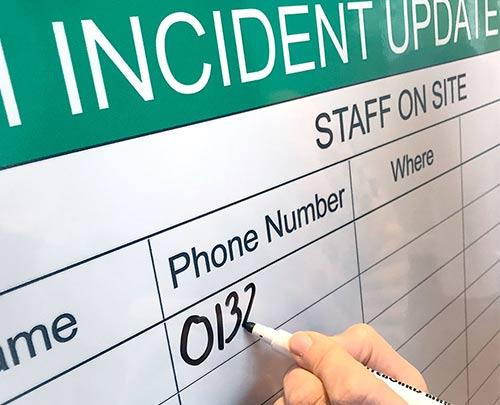 Dry wipe incident update board