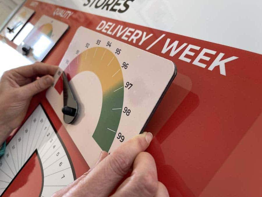 magnetic status indicator on dry wipe board