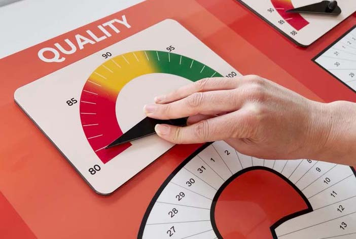 quality status indicator on dry wipe board