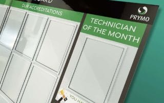 Accreditations and Policies board with document holders - technician of the month